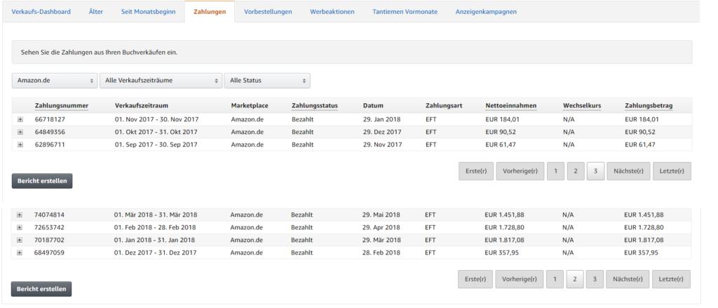 Amazon Kindle Business Erfahrungen - Einnahmen der ersten Monate